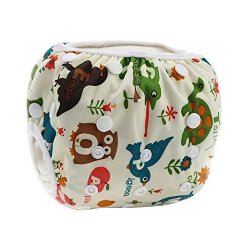 HAPPY CHERRY Babywindeln Waschbare Baby Schwimmwindel Windel Hose Vielen Tieren Drucken Baby-Tuch Windeln Stoffwindeln Größe Verstellbar Cartoon Pattern - Beige
