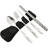 4 piezas de acero inoxidable (cuchillo, tenedor, cuchara, palillos), cubiertos de viaje / camping conjunto con estuche de neopreno (negro(4 piezas))