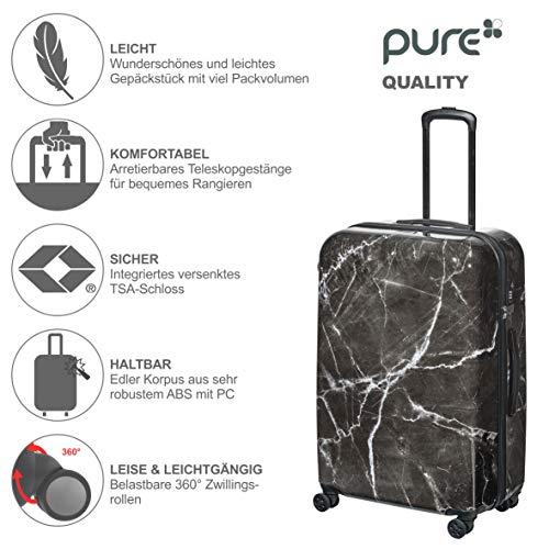 Pure - Hartschalen-Koffer Marmor | Trolley mit 4 Rollen und TSA-Schloss in Größe L | Reisekoffer mit 103 Litern Volumen | Schwarz