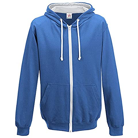 Contrast ROYAL BLUE with White full zip Hoodie