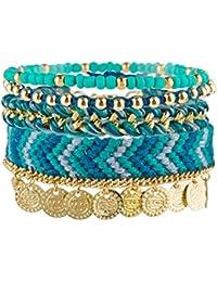 """SIX SALE """"Summer Bracelet"""" 4er Set Ambänder, Perlen & Stoff, türkis, blau, gold, mit Münze, Azteken Muster, Kostüm (460-945)"""