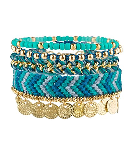 SIX Sale Summer Bracelet 4er Set Ambänder, Perlen & Stoff, türkis, blau, Gold, mit Münze, Azteken Muster, Kostüm (460-945)