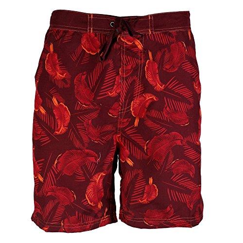 Octave ® pour homme Motif Safari Beach Board Short de bain Style avec poches latérales Multicolore - Rouge