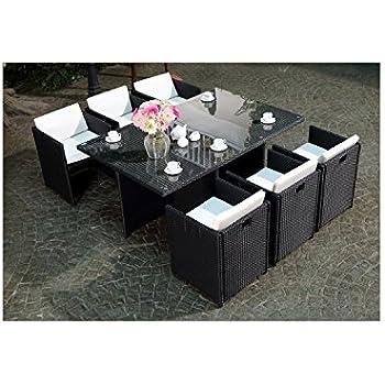 Deuba | Salon de jardin - Ensemble 8+1 • noir, polyrotin | 8 chaises ...
