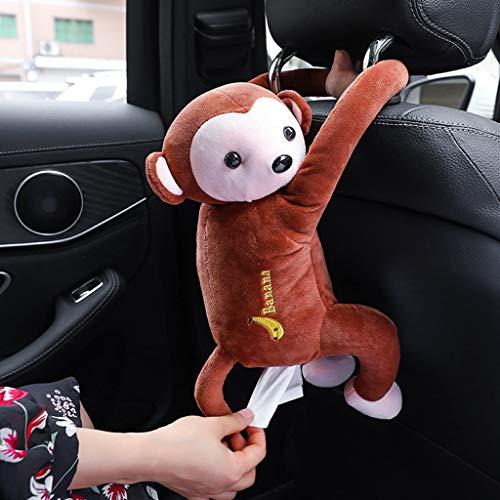 Kingko  Auto Tissue Cover Box, Cartoon Plüsch Auto Taschentuchbox spielerische Monkey Hanging Tissue Box Autositz zurück Tissue Dispenser Cartoon niedlichen Autozubehör (Braun) (Toilettenpapier Am Besten)