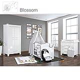 Babyzimmer Enni Hochglanz 21-tlg. mit 2 türigem Kl. + Textilien Blossom, Weiß Grau