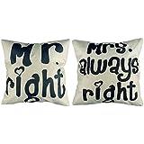 2x Luxbon Kissenbezug mr right mrs always right liebevolle Hochzeit Geschenk 45 x 45 cm