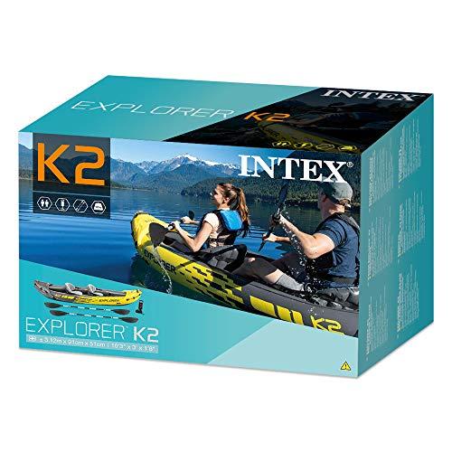 51 2Js8QboL. SS500  - Intex Explorer K2 Kayak, 2-Person Inflatable Kayak Set with Aluminum Oars and High Output Air Pump