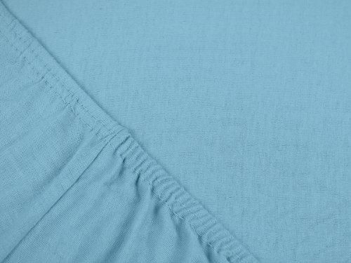 npluseins klassisches Jersey Spannbetttuch - erhältlich in 34 modernen Farben und 6 verschiedenen Größen - 100% Baumwolle, 90-100 x 200 cm, hellblau - 4