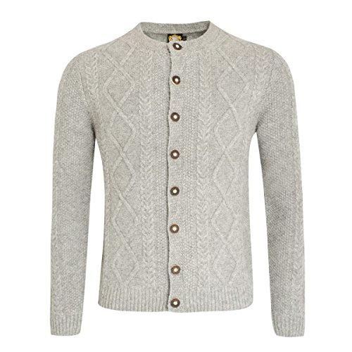 Hammerschmid Herren Trachten-Mode Strickjacke in Grau traditionell, Größe:54, Farbe:Grau