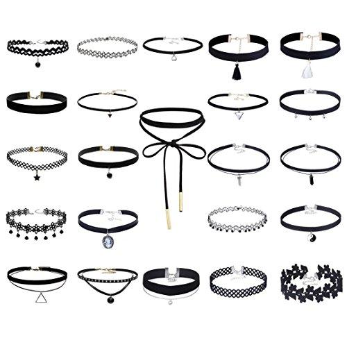 23pezzi set collana girocollo per le donne, Stretch velluto nero in pelle PU adesivo Gotico Pizzo Collana