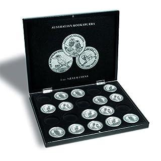 Leuchtturm 346441 VOLTERRA Münzkassette für 20 Australian Kookaburra Silbermünzen in Original Münz-Kapseln   1 OZ.   schwarz  