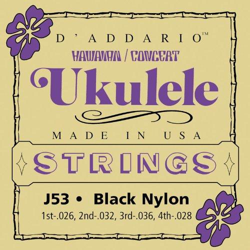 D\'Addario J53 Satz schwarze Nylonsaiten für Ukulele, Dulcimer, Tenor Gitarre, Oud