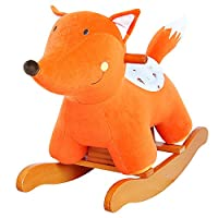 labebe Baby Rocking Horse Wooden, Plush Rocking Horse Toy, Orange Fox Rocking Horse for Baby 1-3 Years, Child Rocker/Child Rocking Horse Toy/Toddler Rocker/Baby Rocker Toy/Wooden Rocker/Infant Rocker