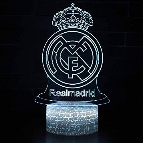 SXMXN Real Madrid Football Club 3D Dia/LED Nachtlicht, 7 Farbe Nachtlichter Wohnkultur Schlafzimmer Acryl, Riss Base, Touch/Fernbedienung, Kindergeschenke,3color+Touch -