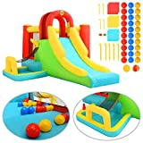 Tidyard Fantasy Castle-Kinder Play Center Aufblasbare Hüpfburg mit Rutsche Happy Hop 400x295x200 cm...