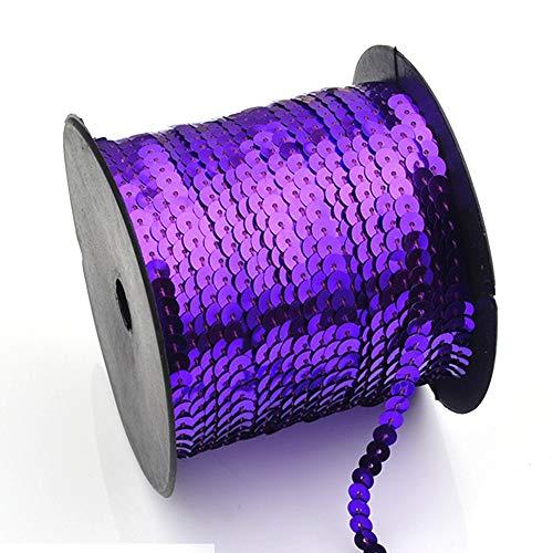 Flache Paillettenband Rolle, Spangle Trim Spool String Ribbon Nähen Handwerk Verbindung Stoff für DIY Halskette Kleid Dekor, 90m(90m,Lila) -