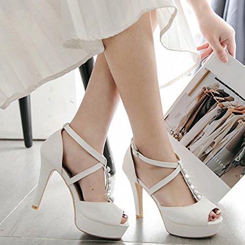 Oasap Women's Peep Toe Pearls T-strap Stiletto Heels Sandals white