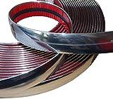 Aerzetix: 25mm 4.5m Bande baguette adhésive couleur chrome nickel argent