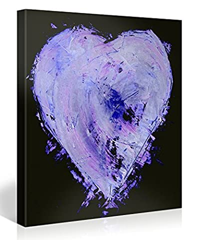 Large Canvas Print Wall Art – Purple Heart - 80x80cm Canvas Picture Stretched On A Wooden Frame – Giclee Canvas Printing – Hanging Wall Deco Picture