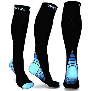 Physix Gear Sport Kompressionsstrümpfe Damen & Herren Stützstrümpfe (20-30 mmHg), bei Wassereinlagerungen, Flugreisen & Sport Kompressionssocken, Langlebige Laufsocken, Compression Socks