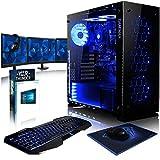 VIBOX Nebula RS880-115 Pack PC Gamer - 4,2GHz CPU 8-Core AMD FX, GPU RX 580, Prêt VR, Extrême, 4K Ready, Avancé, Ordinateur PC de Bureau Gaming paquet de jeux, avec Écran, Windows 10, Éclairage Interne Bleu (3,3GHz (4,2GHz Turbo) Processeur CPU Huit-Core AMD FX 8300 Ultra Rapide, Carte Graphique AMD Radeon RX 580 4 Go, 32 Go Mémoire RAM DDR3 1600MHz Grande Vitesse, Disque Dur Sata III 7200rpm 2 To (2000 Go), PSU Aerocool 600W 85+, Boîtier Gamemax Onyx, Adaptateur Wifi 150 Mbps, Bleu Fan)
