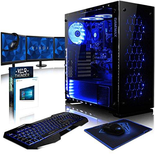 VIBOX Nebula RS670-111 Pack PC Gamer - 4,1GHz AMD FX 6-Core CPU, GPU RX 470, Prêt VR, Extrême, Avancé, 4K Ready, Ordinateur PC de Bureau Gaming paquet de jeux, avec Écran, Windows 10, Éclairage Interne Bleu (3,5GHz (4,1GHz Turbo) Processeur CPU Six 6-Core AMD FX 6300 Ultra Rapide, Carte Graphique AMD Radeon RX 470 4 Go, 16 Go Mémoire RAM DDR3 1600MHz Grande Vitesse, SSD 240 Go Ultra Rapide, Disque Dur Sata III 7200rpm 1 To (1000 Go), PSU 85+, Boîtier Gamemax Onyx)
