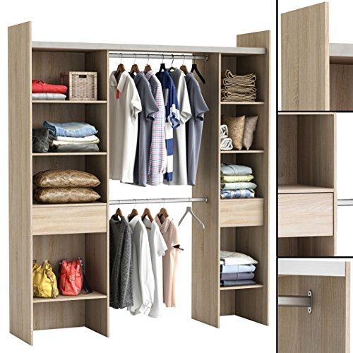 Kleiderschrank SONOMA-EICHE 3002 offen BEGEHBAR Regal Schrank Garderobe
