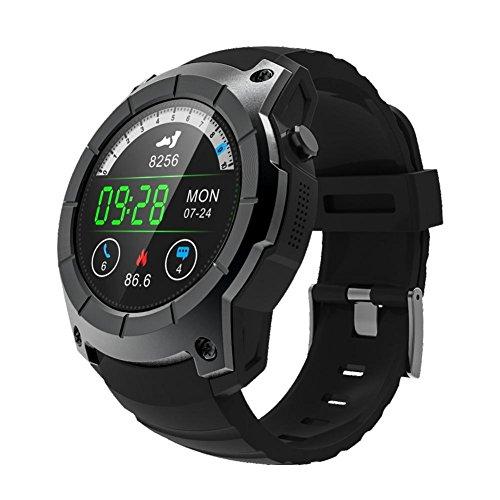 Besteffie S958 Smartwatch GPS-Sportuhr mit Herzfrequenz- und Druckmessgerät – unterstützt SIM-Karte 2G Netzwerk Barometer Schrittzähler Multisport Modell Smartwatch für Android iOS, Schwarz,