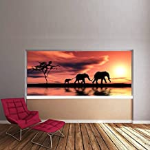 Puesta del sol del elefante Fotomurales Animal de la selva murales pared Niños Dormitorio Decoración Disponible en 8 Tamaños Gigantesco Digital