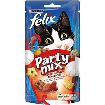 Felix Party Mix Saveur Grillade : B½uf, Poulet, Saumon - 60 g - Friandises pour Chat - Lot de 8