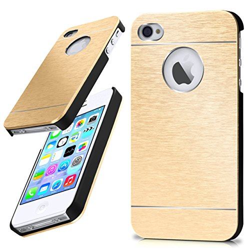 iPhone 4S Hülle Dünn Gold [OneFlow Aluminium Back-Cover] Schutz Handytasche Ultra-Slim Handy-Hülle für iPhone 4/4S Case Metall Schutzhülle Alu Hard-Case Iphone 4 Gold Case