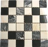 GTDE 10x10cm Muster. Marmor Mosaik Fliesen Muster in Schwarz und Weiß MT0060 Muster