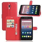 Alcatel Onetouch Pixi 4 8050D (3G) 6.0 Zoll Hülle,PU Leder Flip Case im Book-Style [Slim Fit] Ledertasche Handyhülle[mit Standfunktion und Kartenfach] für Alcatel Pixi 4 (Spezielle für 3G-Version)Cass-Rote