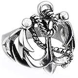 Uezenu Herren Weinlese Titan Stahl Punk Anker Schmuck Casting Silber Ringe,Größe 57 (18.1)