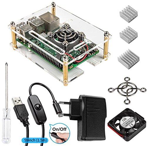Para Raspberry Pi 3 Caja con Cargador + 3 x Disipador de Aluminio + Ventilador + Cable USB con conector ON / OFF Compatible con Raspberry Pi 3 b case y modelo b