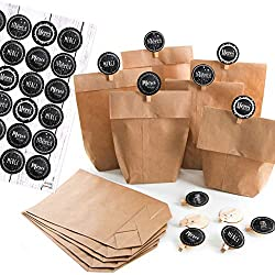 Logbuch-Verlag 12 Geschenktüten MERCI beaucoup - Papiertüten + Holzklammern + Aufkleber schwarz weiß braun - Dankeschön Geschenk Vintage Verpackung