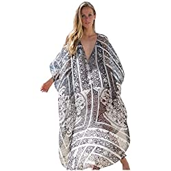 Vestido Boho Mujer Largo Talla Grande Camisolas y Pareos Indios Bohemio Hippie Chic Tunica Gasa Caftan Africano Kaftan Etnico Kimono Flores Maxi Dress Ropa Piscina Playa Traje de Baño Bikini Cover Up