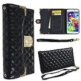 Ancerson® PU Leder Wallet Schutzhülle für Samsung Galaxy S5 SV I9600 Ledertasche Buch Stil Geldbörse Flip Case Brieftasche Tasche mit Kartenfächer Handschlaufe (Schwarz)