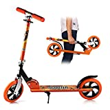 YKS Big Wheel Stuntscooter Scooter Roller Kinder Stunt Scooter Kinder City-Roller klappbar Höhenverstellbar Tret-Roller für Erwachsene und Kinder (Orange)
