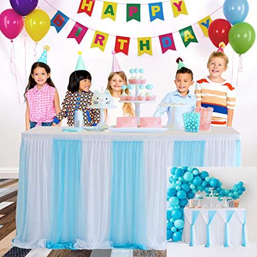 HBBMAGIC Tüll Tischrock Blau DIY Style Tischröcke Party Deko Für Hochzeit, Geburtstag, Candy Bar, Weihnachten, Babyparty