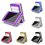 GeKLok 15000 mAh Solar-Ladegerät Powerbank Tragbares Handy-Ladegerät Externer Akku Ladegerät mit Dual USB, violett