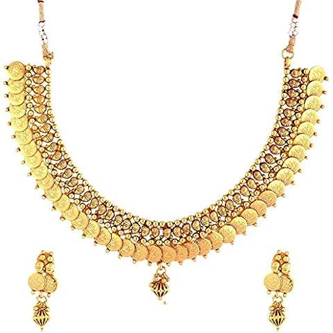 El joyero de las mujeres de la moneda Lakshmi chapado en oro del pendiente del collar de gargantilla de templo antiguo