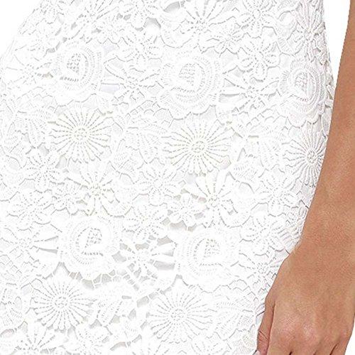Damen Sommerkleid Vintage Ärmellos Spitzenkleid Ballkleid cocktailkleid Retro Rockabilly Festlich Partykleid 7 Farbe Weiß