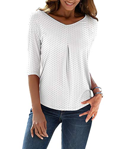 TrendiMax Damen Sommer T-Shirt V-Ausschnitt Lässige Stretch Falten Bluse Tops Halbarm Baumwollshirt Oberteile (Weiß, XL)