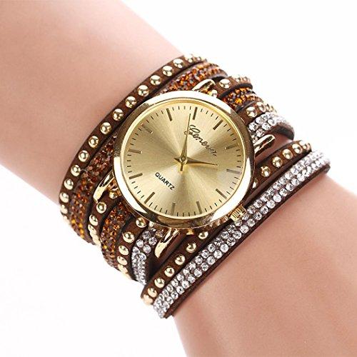 Le donne di cristallo del quarzo del braccialetto intrecciato Rivet Winding Wrap dell'orologio,Fami (A)