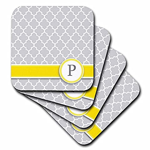 InspirationzStore Monograms - Your personal name initial letter P - monogrammed grey quatrefoil pattern - personalized yellow gray - set of 8 Coasters - Soft (cst_154582_2)