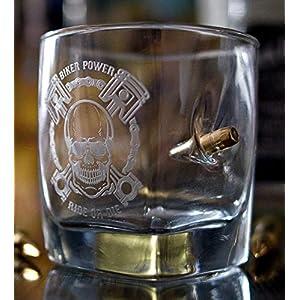 HandMade Rocker Graviertes Whiskyglas für Motorradfahrer mit Geschoß Kugel cal.308 Geschenkidee