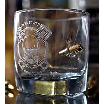 KolbergGlas Rocker Graviertes Whiskyglas für Motorradfahrer mit Geschoß Kugel cal.308 Geschenkidee