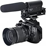 Amzdeal Micrófono cañón de condensador de vídeo profesional para cámaras digitales SLR y videocámaras